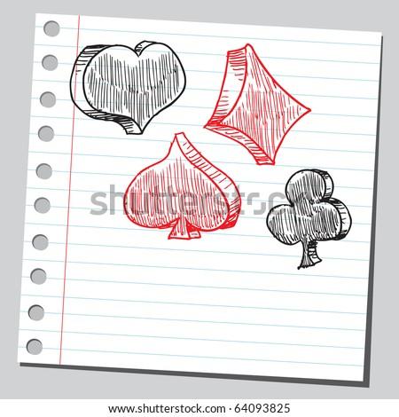 Sketchy gambling card symbols - stock vector