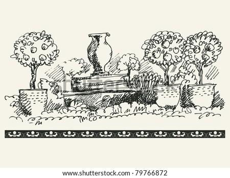 sketchy garden - stock vector
