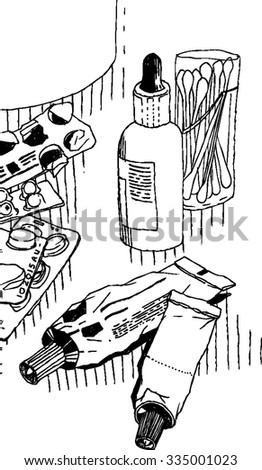 Sketchy hand drawn still life with medicament - pills, tubes, drops and other drugs , cotton sticks on table vector.