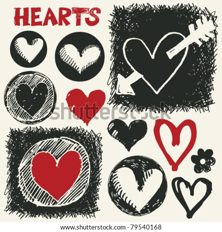 sketchy hearts, hand drawn design elements - stock vector