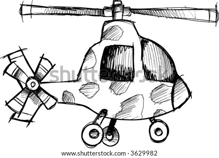Sketchy helicopter Vector Illustration