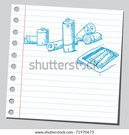 Sketchy illustration of a batteries - stock vector