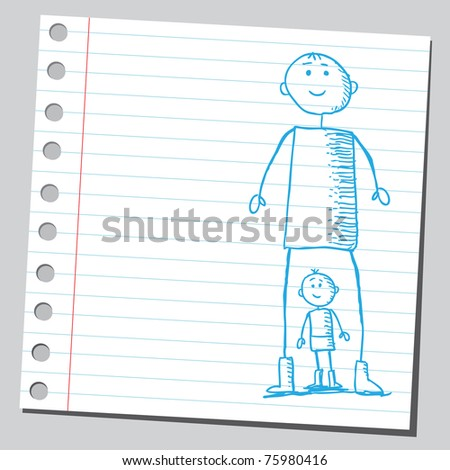 Sketchy illustration of a big and little man - stock vector