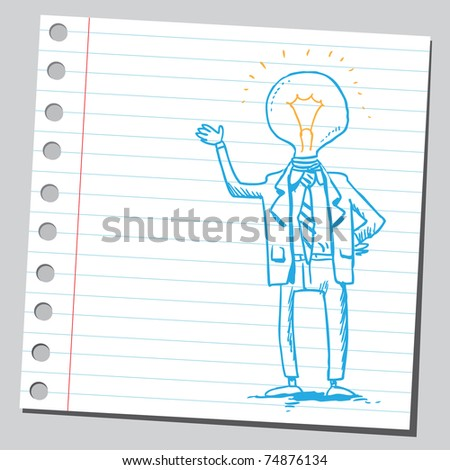 Sketchy illustration of a bizarre lightbulb man - stock vector