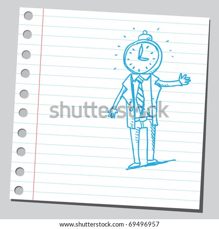 Sketchy illustration of a bizarre man with clock head - stock vector