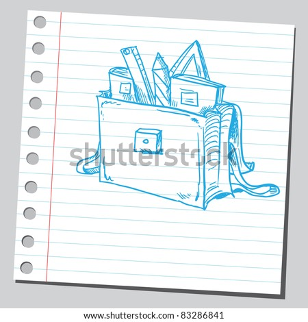 Sketchy illustration of a blue school bag - stock vector