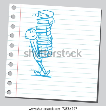 Sketchy illustration of a boy carrying books - stock vector