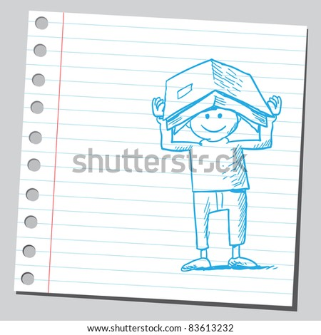 Sketchy illustration of a boy holding book on his head - stock vector