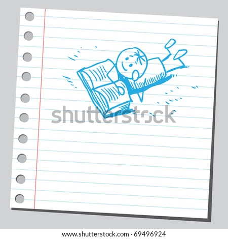 Sketchy illustration of a boy reading a book - stock vector