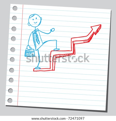 Sketchy illustration of a businessman climbing - stock vector