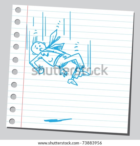 Sketchy illustration of a businessman falling - stock vector
