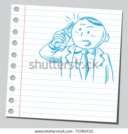 Sketchy illustration of a businessman speaking on a cellphone - stock vector
