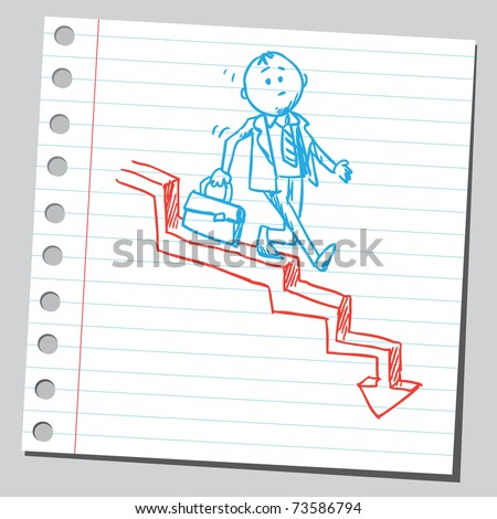 Sketchy illustration of a businessman walking downstairs - stock vector