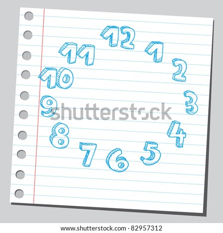 Sketchy illustration of a clock numbers - stock vector