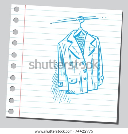 Sketchy illustration of a coat on a hanger - stock vector