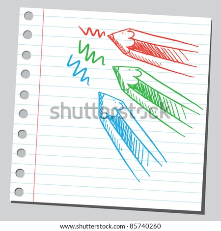 Sketchy illustration of a colorful pencils - stock vector