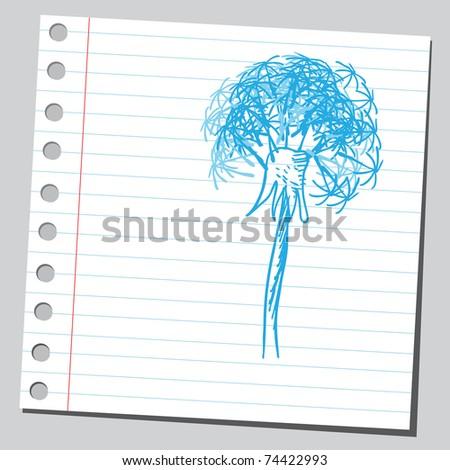Sketchy illustration of a dandelion - stock vector
