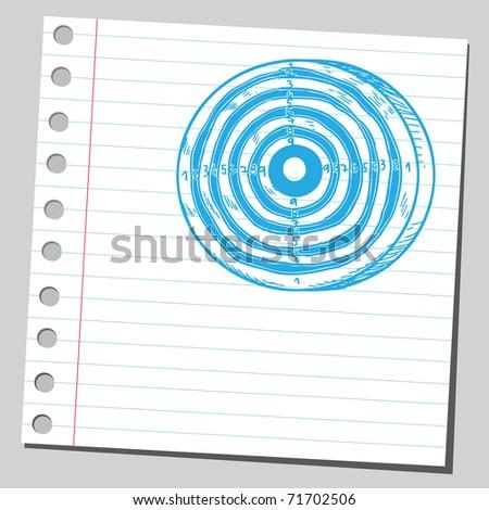 Sketchy illustration of a dartboard - stock vector