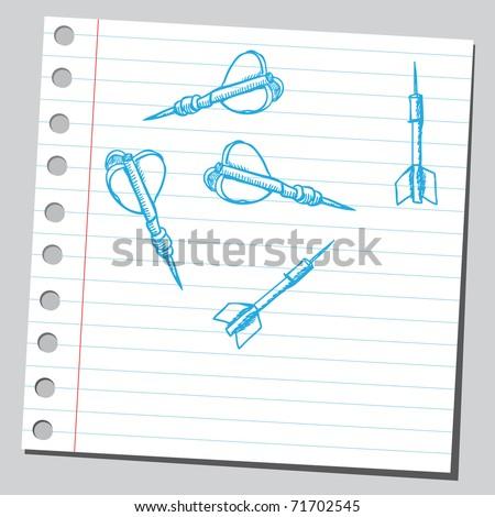 Sketchy illustration of a darts - stock vector