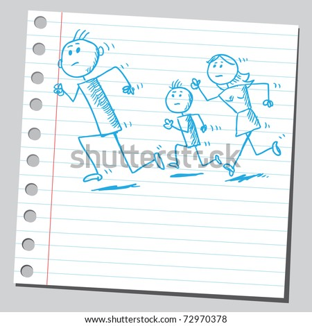 Sketchy illustration of a family running - stock vector