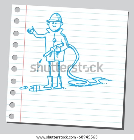 Sketchy illustration of a fireman - stock vector
