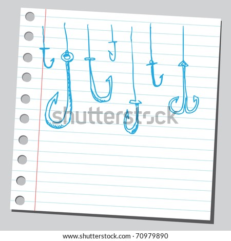 Sketchy illustration of a fish hooks - stock vector