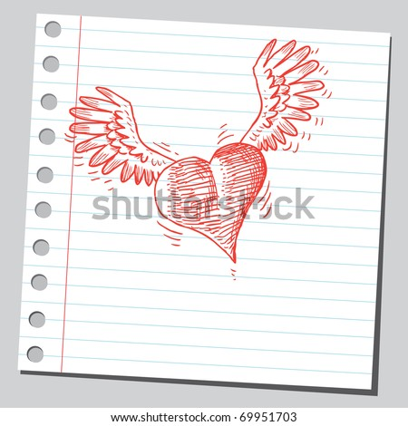 Sketchy illustration of a flying heart - stock vector