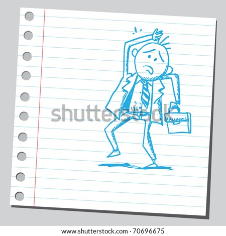 Sketchy illustration of a frightened businessman - stock vector
