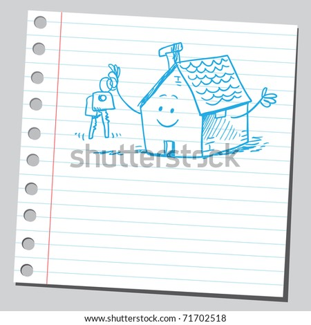 Sketchy illustration of a funny house holding house-keys - stock vector