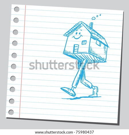 Sketchy illustration of a funny walking house - stock vector