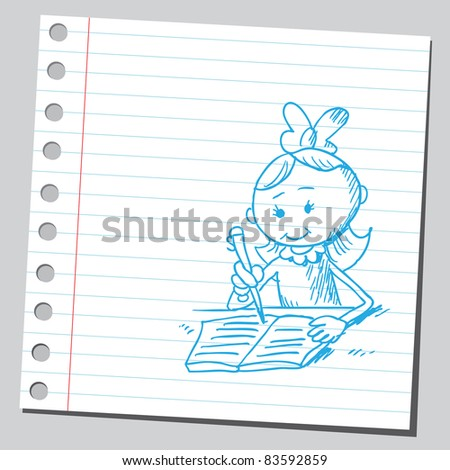 Sketchy illustration of a girl doing homework - stock vector