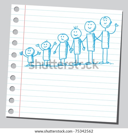 Sketchy illustration of a group of kids ( from small to tall) - stock vector