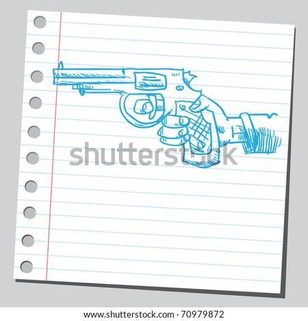 Sketchy illustration of a hand holding a handgun - stock vector