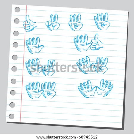 Sketchy illustration of a hands counting - stock vector