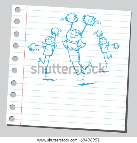 Sketchy illustration of a happy cheerleaders - stock vector