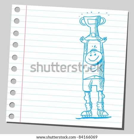 Sketchy illustration of a happy cup winner - stock vector