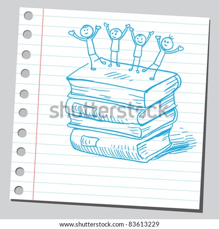 Sketchy illustration of a happy kids on books - stock vector