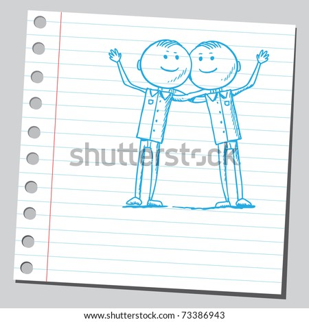 Sketchy illustration of a happy twins - stock vector