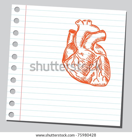 Sketchy illustration of a heart - stock vector