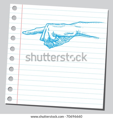 Sketchy illustration of a human hand pointing - stock vector