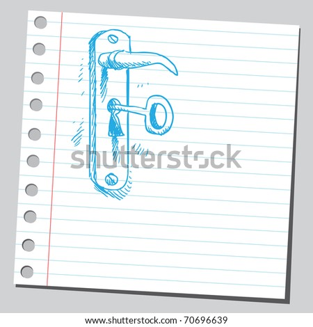 Sketchy illustration of a key in lock - stock vector