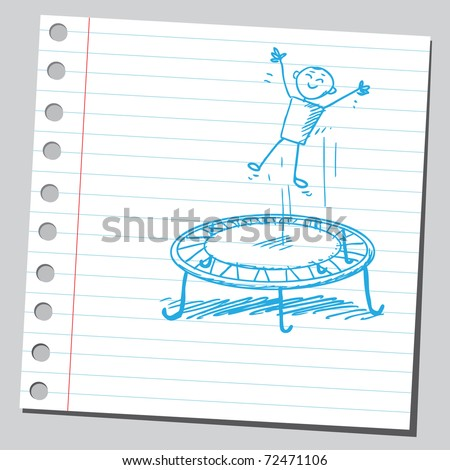 Sketchy illustration of a kid and trampoline - stock vector