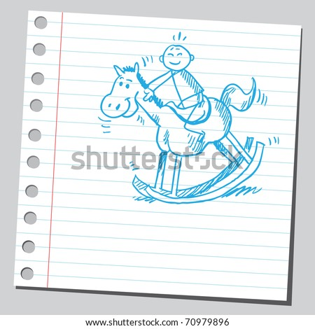 Sketchy illustration of a kid on a rocking horse - stock vector