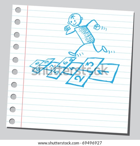 Sketchy illustration of a kid playing hopscotch - stock vector