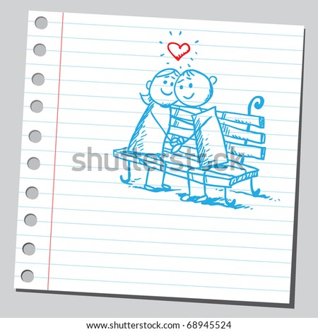 Sketchy illustration of a kids in love - stock vector