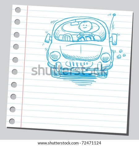 Sketchy illustration of a man driving car - stock vector