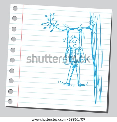 Sketchy illustration of a man hanging on a tree branch