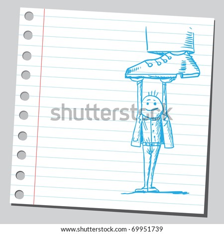 Sketchy illustration of a man holding a giant - stock vector