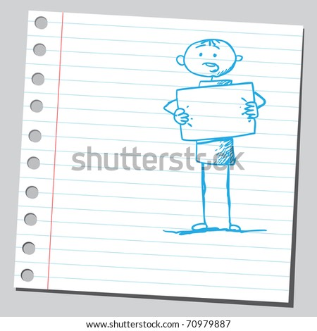 Sketchy illustration of a man holding an empty banner - stock vector