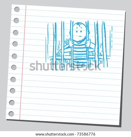 Sketchy illustration of a man in jail